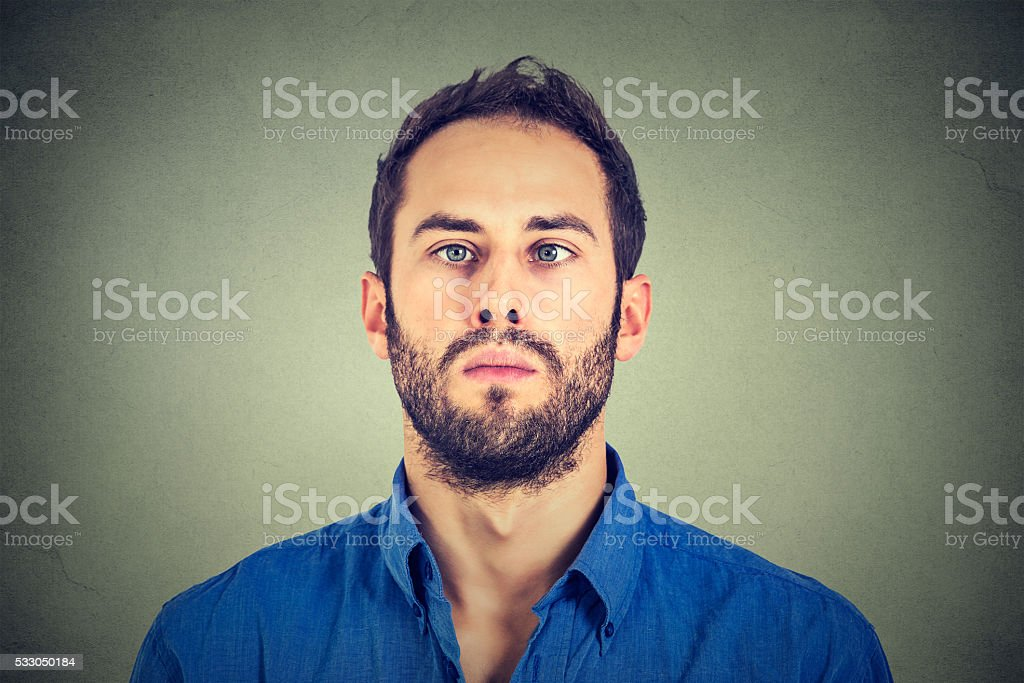 Closeup portrait of a cross-eyed man stock photo