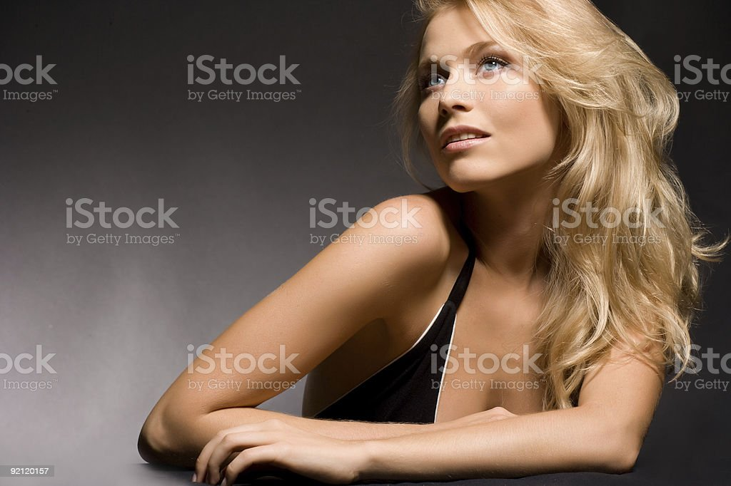 Close-up portrait of a fresh and beautiful young fashion model royalty-free stock photo