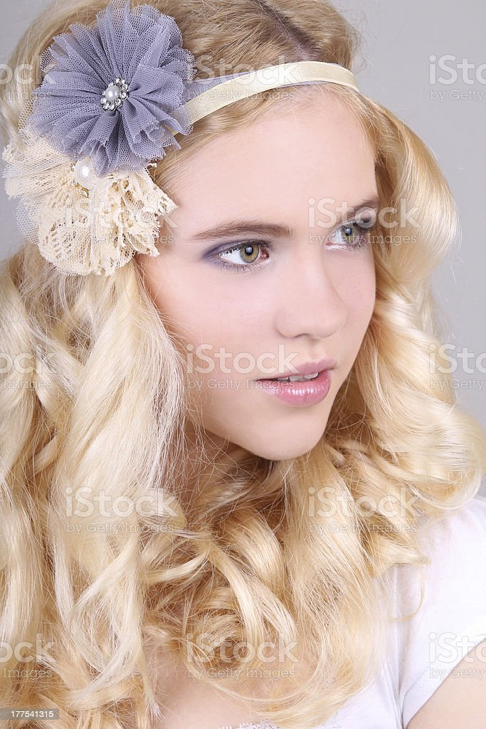Closeup portrait of a girl with headband royalty-free stock photo
