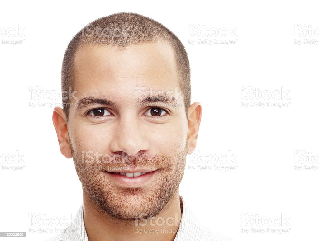 Closeup portrait of a happy guy isolated on white stock photo