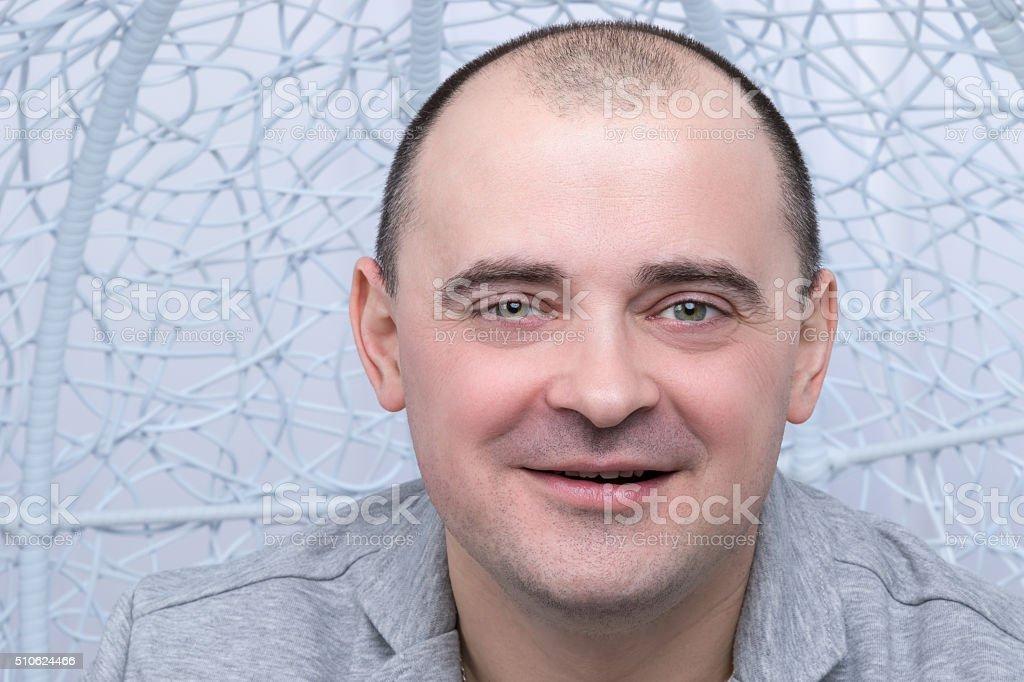 Closeup portrait of a happy man stock photo