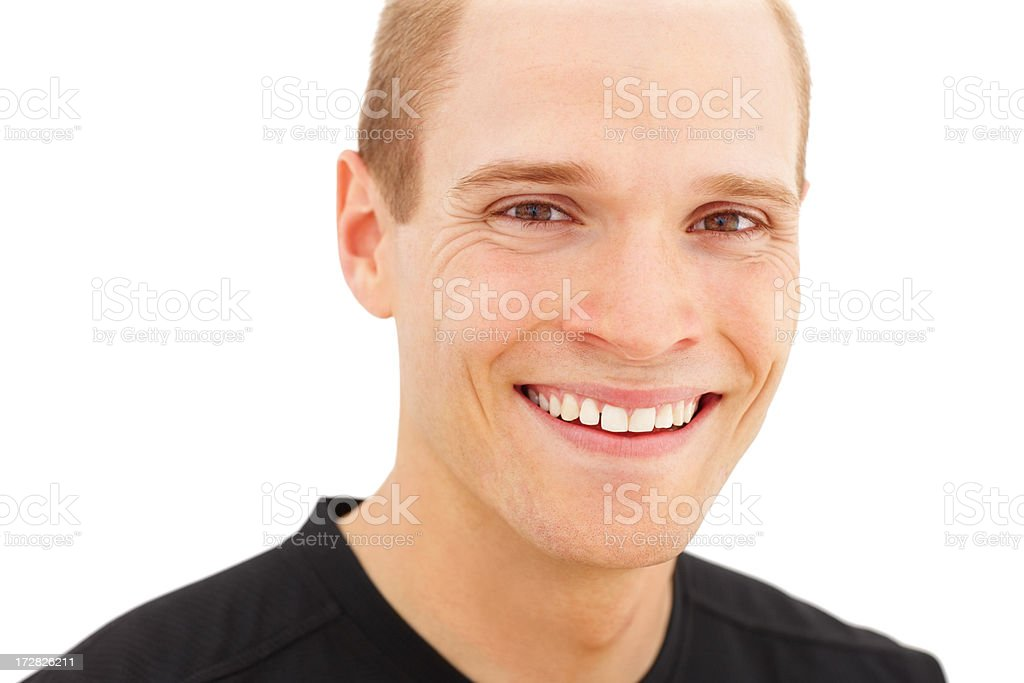 Closeup portrait of a happy smart young man over white background stock photo
