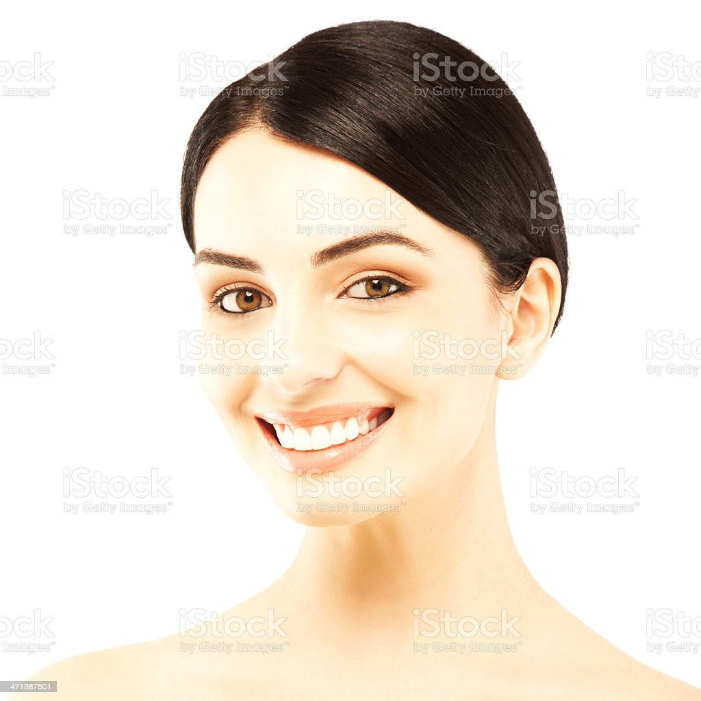 Close-up portrait of a happy woman smiling royalty-free stock photo