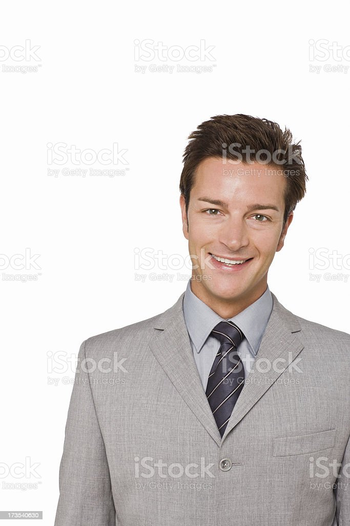 Closeup portrait of a happy young businessman royalty-free stock photo
