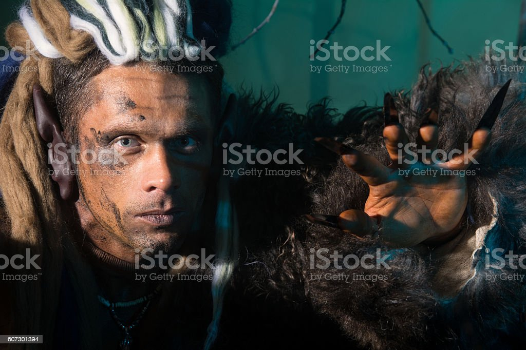 Close-up portrait of a man with dreadlocks in the skin stock photo