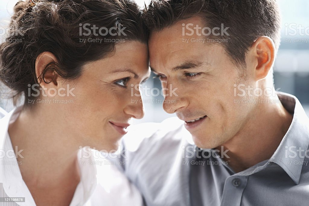 Closeup portrait of a mature couple looking at each other royalty-free stock photo
