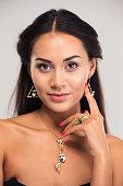 Closeup portrait of a pretty female model