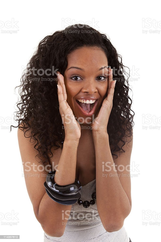 Closeup portrait of a surprised young black woman royalty-free stock photo