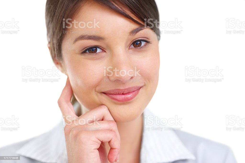 Closeup portrait of a sweet young female over white background stock photo