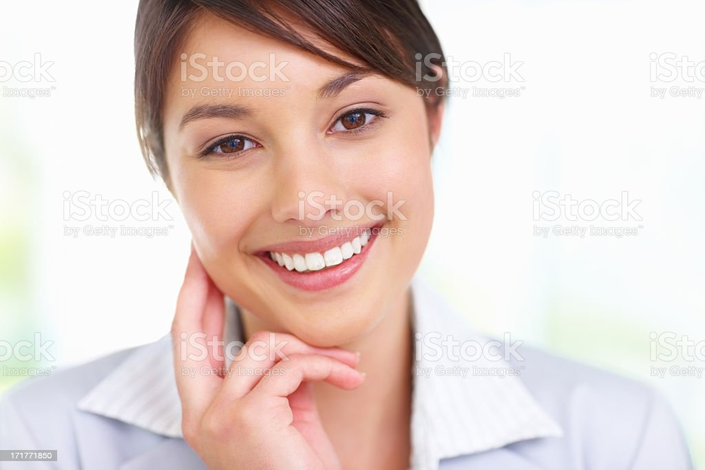 Closeup portrait of a sweet young female stock photo
