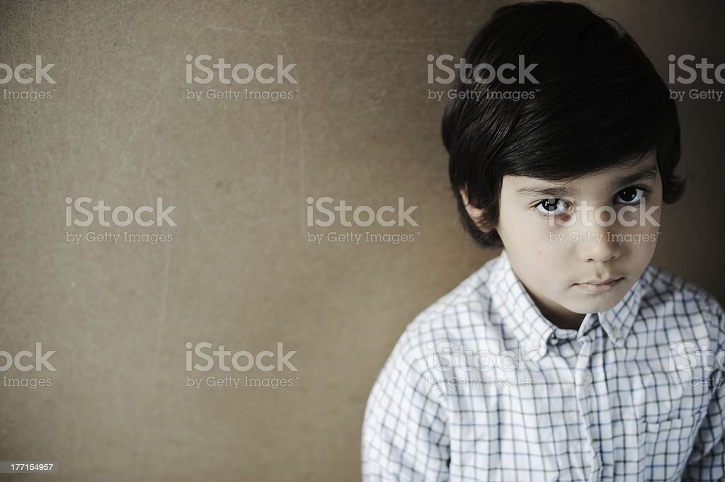 A close-up portrait of a young boy royalty-free stock photo