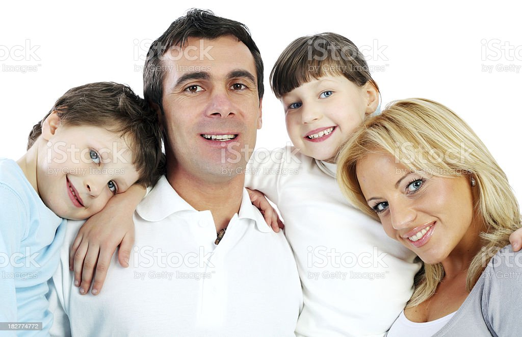 Close-up portrait of a young happy family. royalty-free stock photo