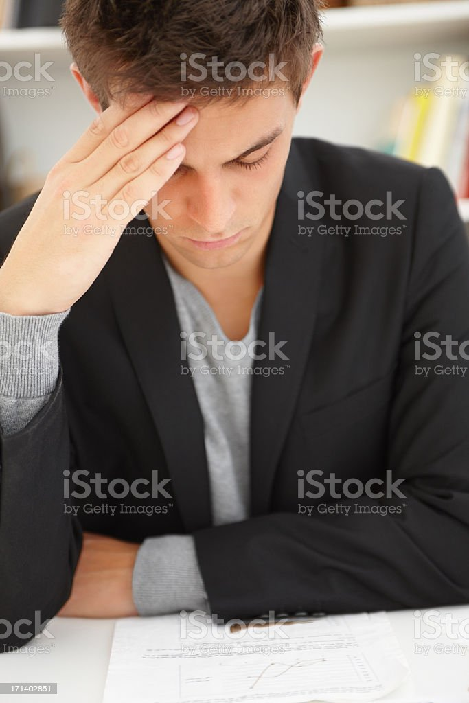 Closeup portrait of a young man stressed royalty-free stock photo