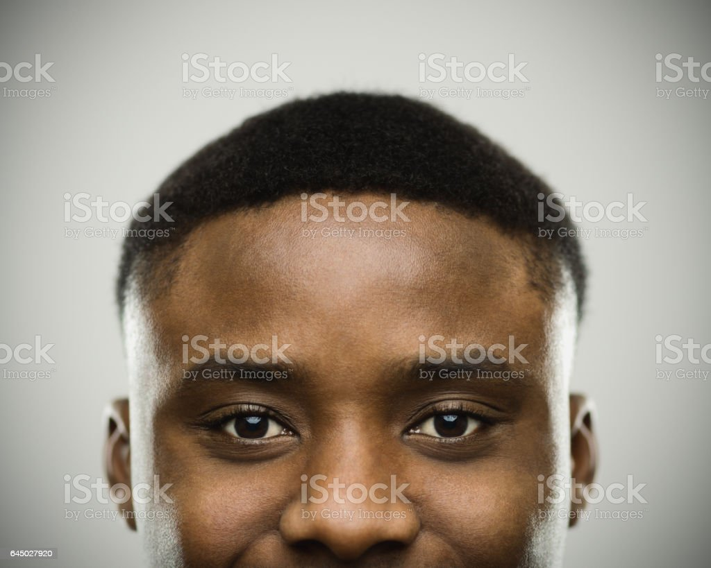 Close-up portrait of african man smiling stock photo
