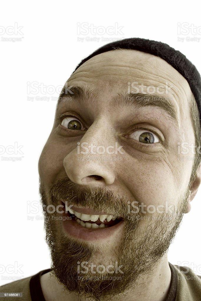 Close-up portrait of an exuberant man stock photo