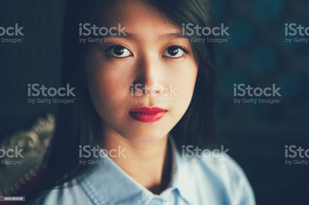 Closeup Portrait of Attractive Young Asian Woman stock photo