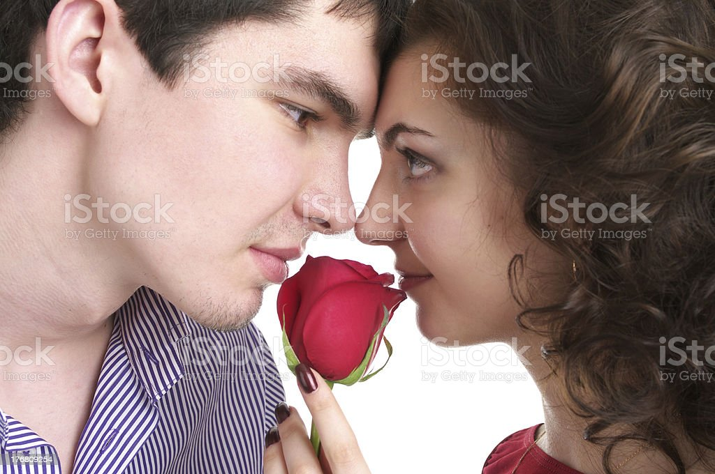 Closeup portrait of beautiful couple in love royalty-free stock photo