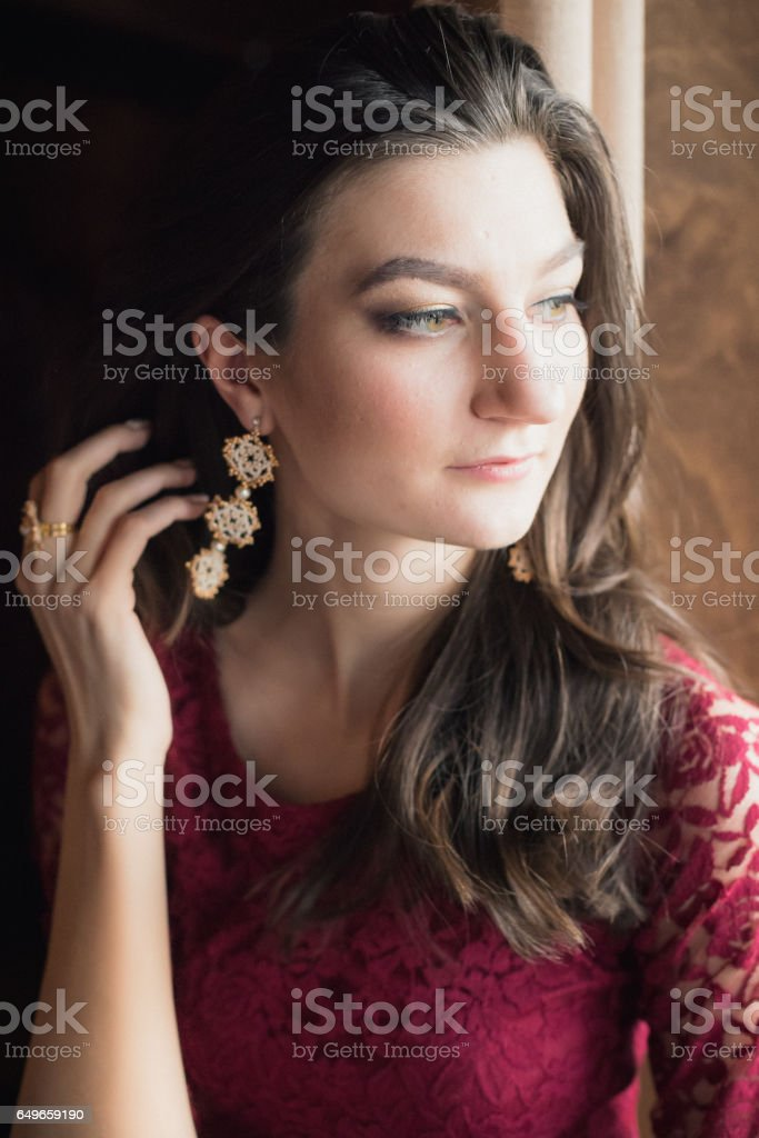 close-up portrait of beautiful girl stock photo