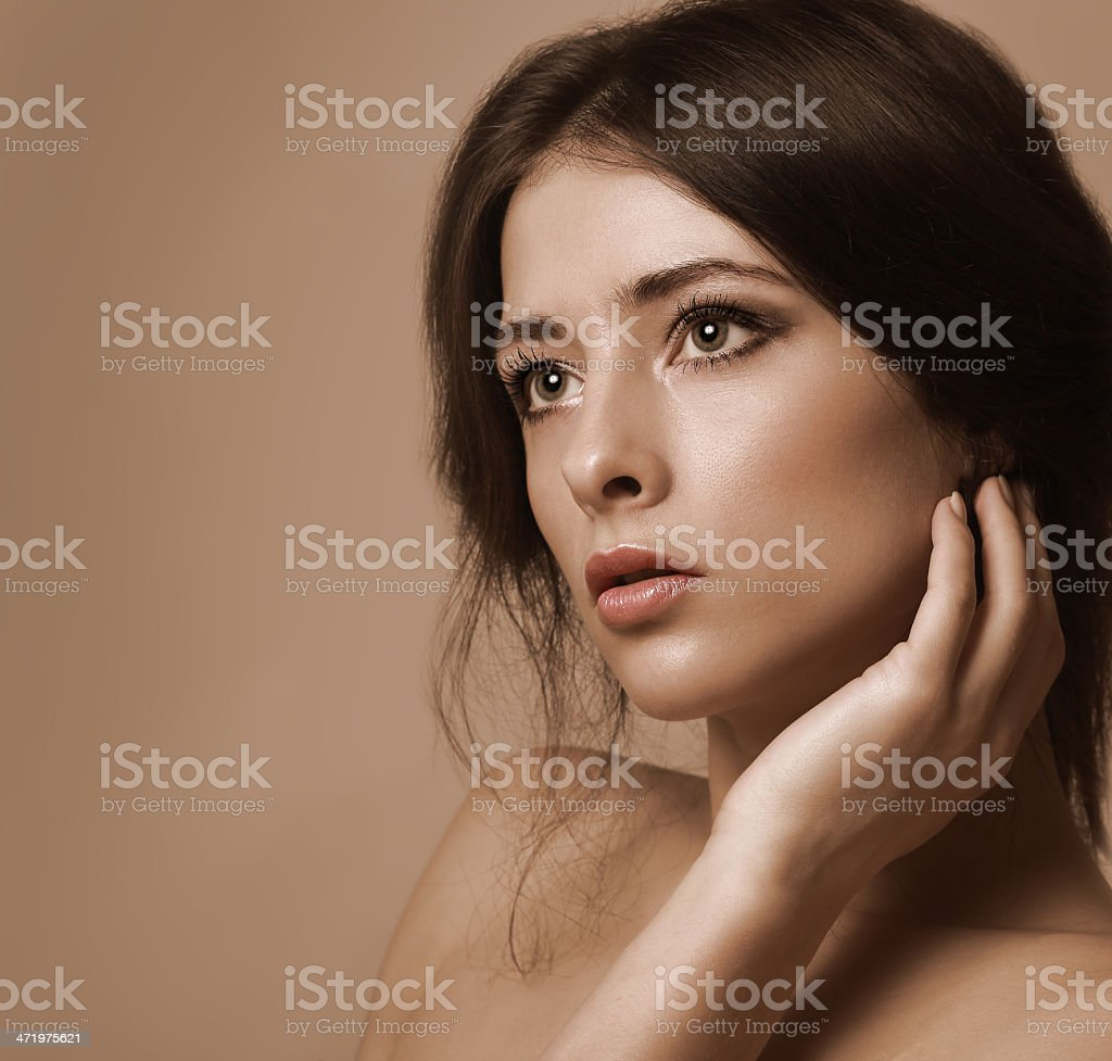 Closeup portrait of beautiful woman looking lonely royalty-free stock photo