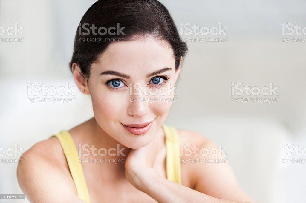 Close-up portrait of beautiful women stock photo