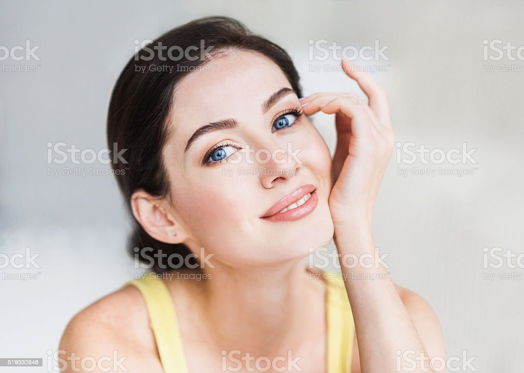 Close-up portrait of beautiful women stock photo