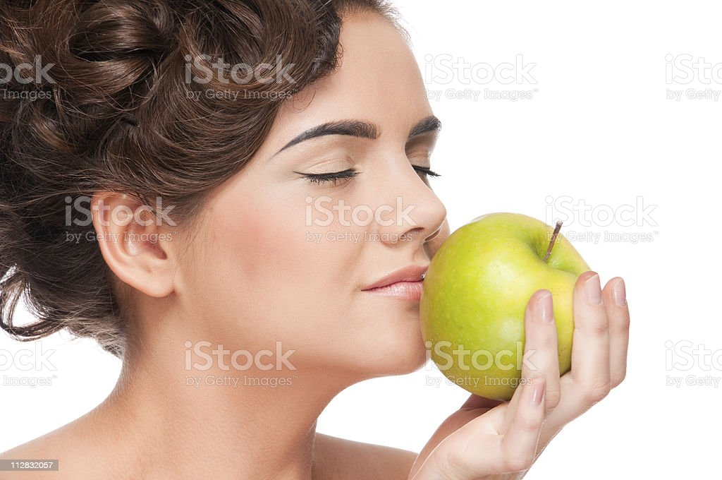 Closeup portrait of beauty woman with green apple royalty-free stock photo
