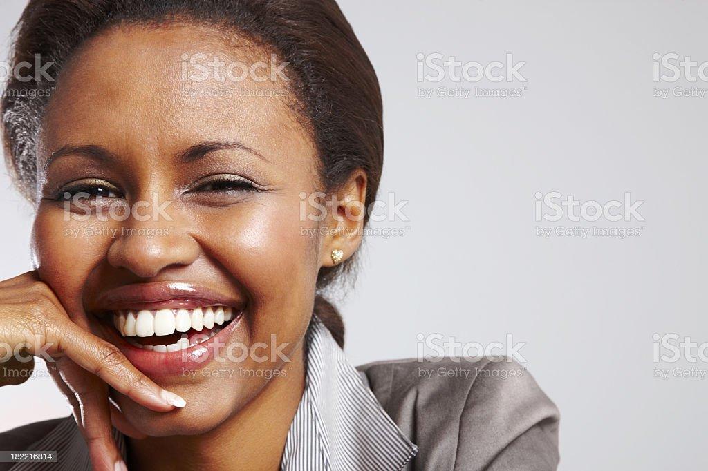 Closeup portrait of black businesswoman smiling stock photo