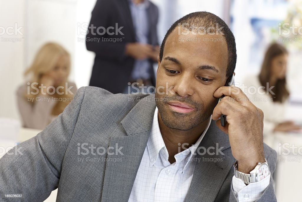 Closeup portrait of businessman on phone call royalty-free stock photo