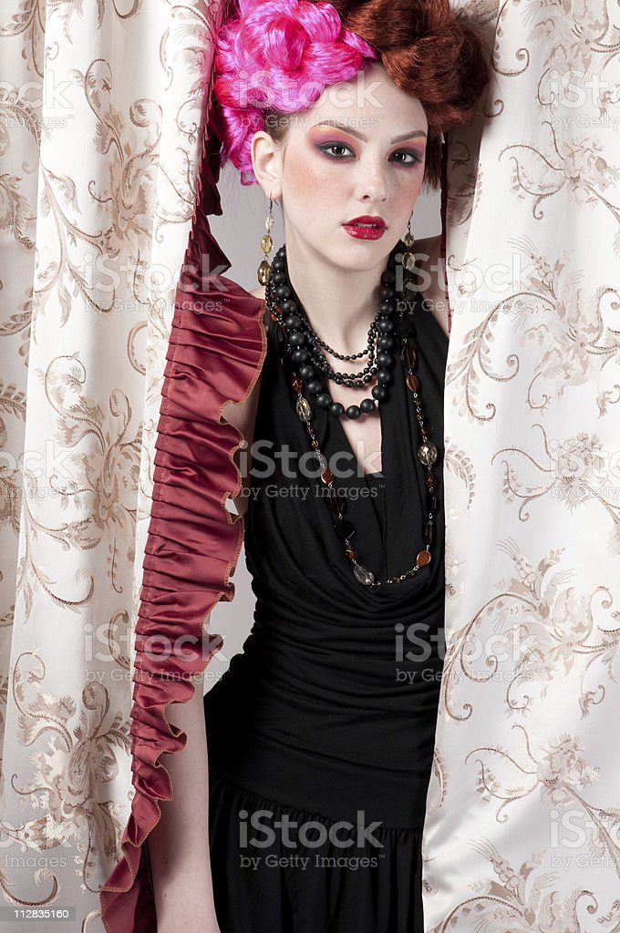 Closeup portrait of fashion woman posing with silck fabric royalty-free stock photo
