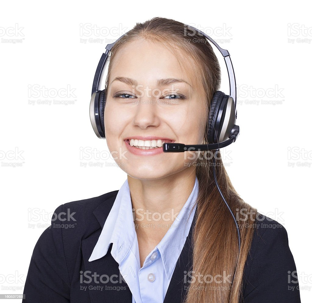 Closeup portrait of female call centre employee with a headset royalty-free stock photo