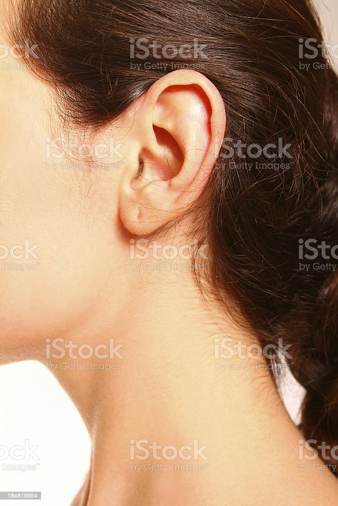 close-up portrait of female ear and neck stock photo
