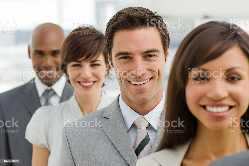 Closeup portrait of happy business group royalty-free stock photo