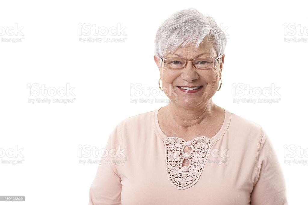 Closeup portrait of happy granny stock photo