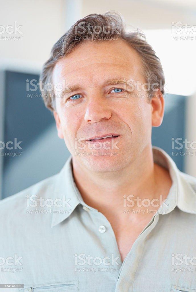 Closeup portrait of happy handsome mature man stock photo