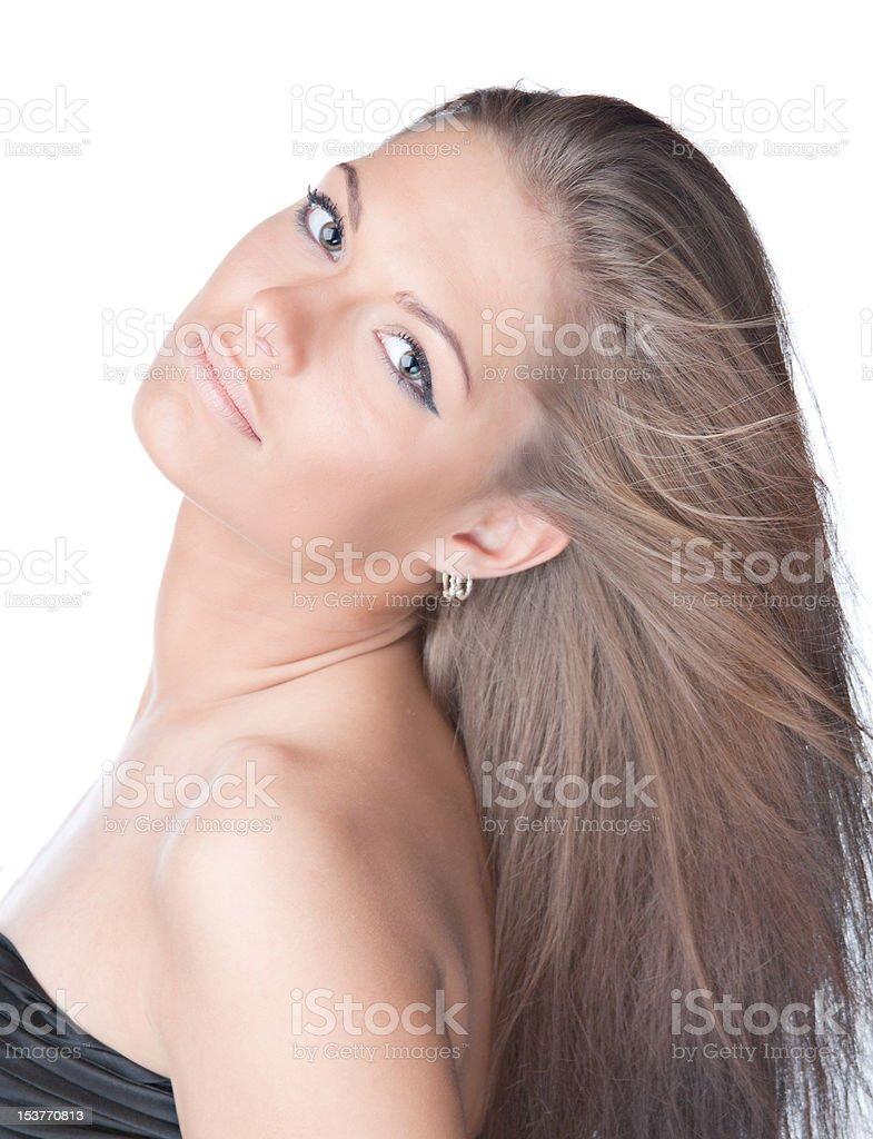 Nahaufnahme Porträt der glückliche junge Frau lächelnd isoliert auf weiss Lizenzfreies stock-foto