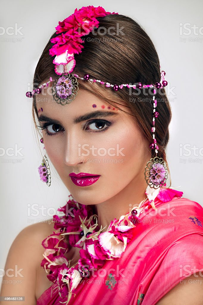 Close-up portrait of Indian woman stock photo
