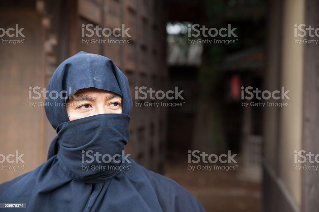 Close-up portrait of Japanese Ninja stock photo