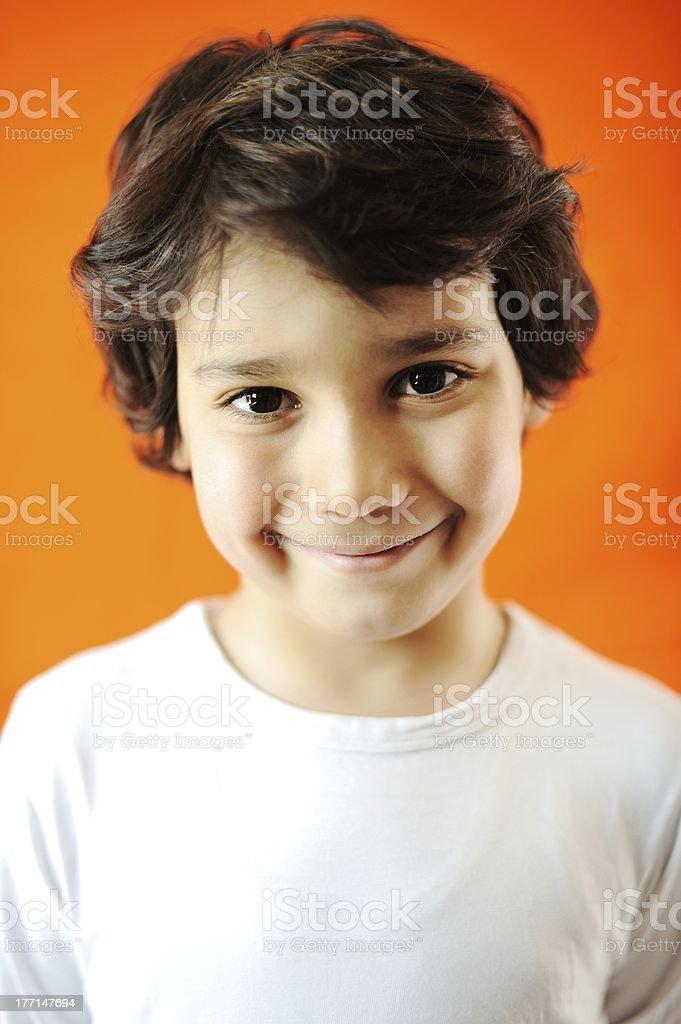 Closeup portrait of kid stock photo