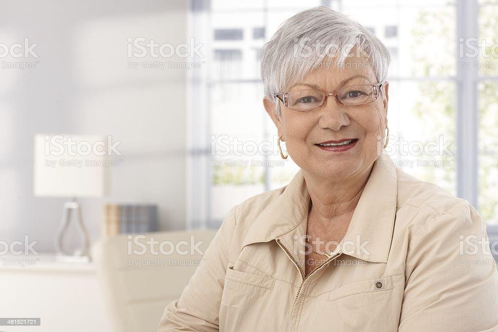 Closeup portrait of mature woman stock photo