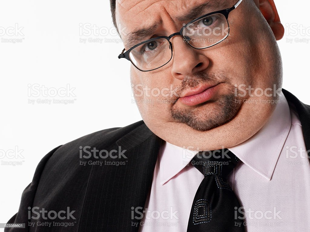 Closeup Portrait Of Overweight Businessman stock photo