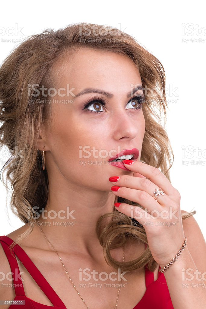 Closeup portrait of pensive woman isolated on white stock photo