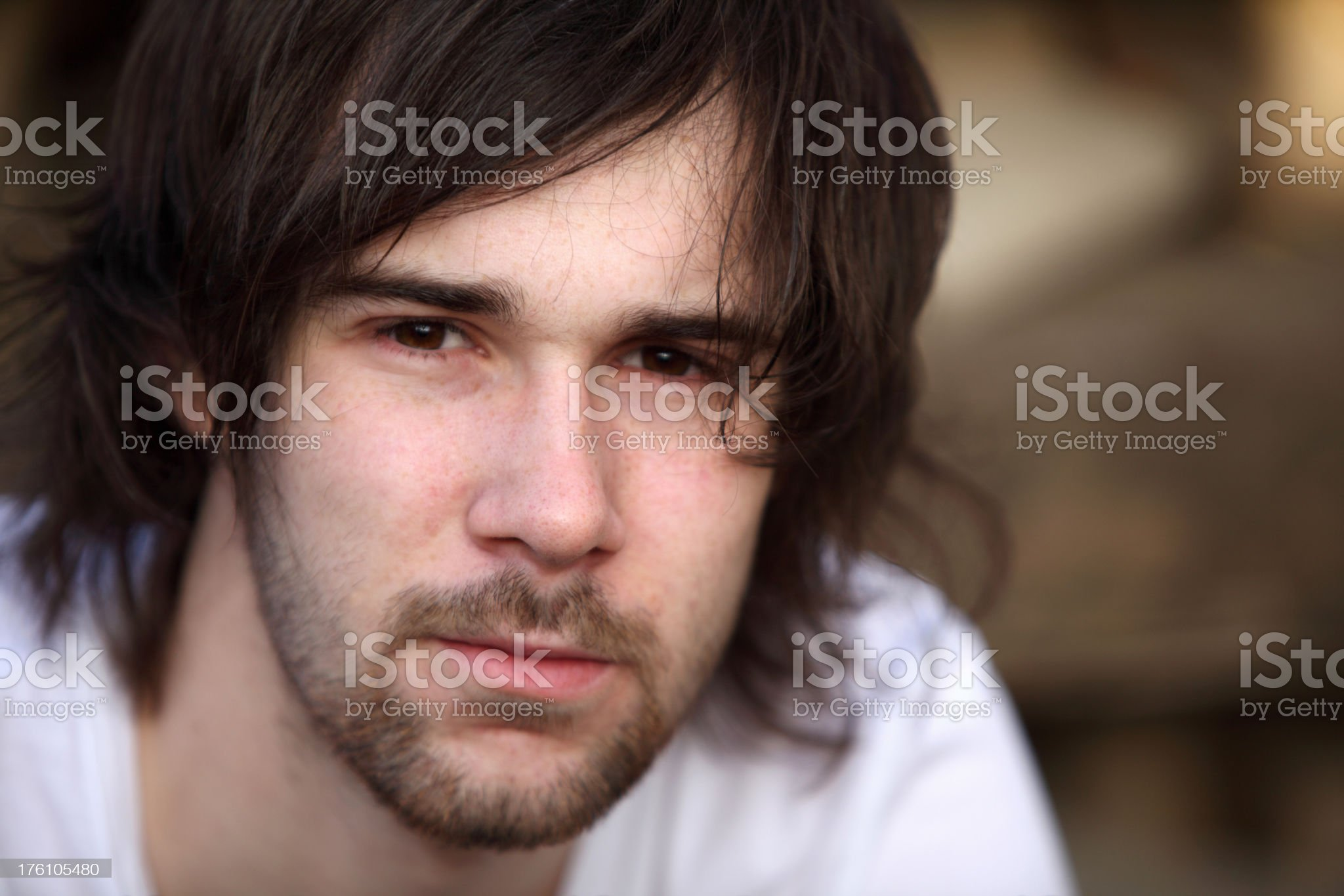 Close-up portrait of pensive youth royalty-free stock photo