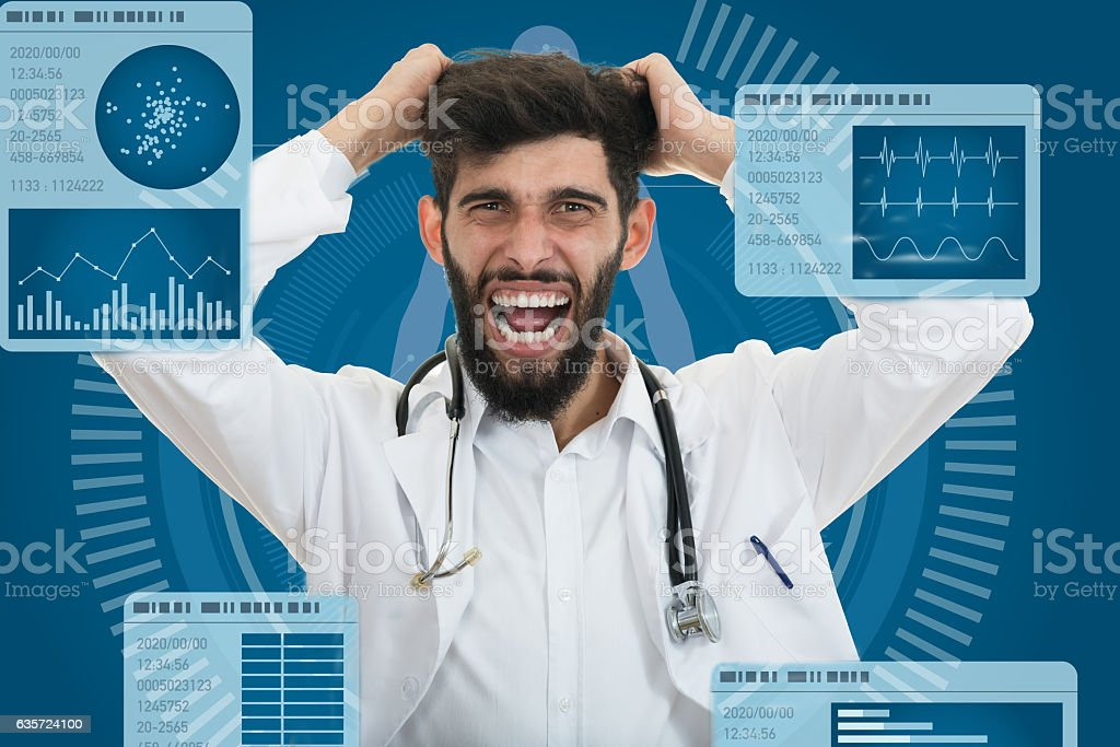 Closeup portrait of rude frustrated upset overwhelmed, angry young doctor stock photo