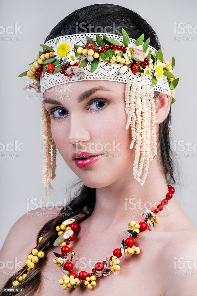 Close-up portrait of Russian woman stock photo