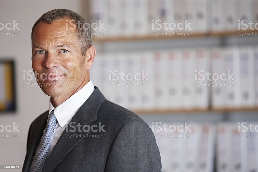 Closeup portrait of satisfied mature business man in office royalty-free stock photo