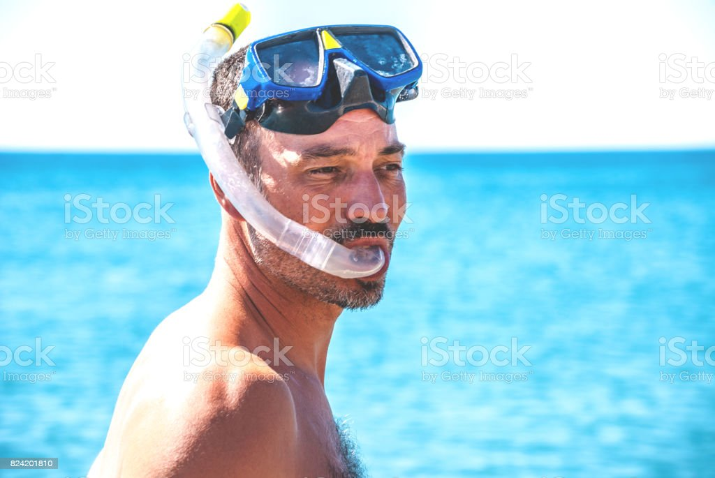 Closeup Portrait Of Scuba Diver stock photo