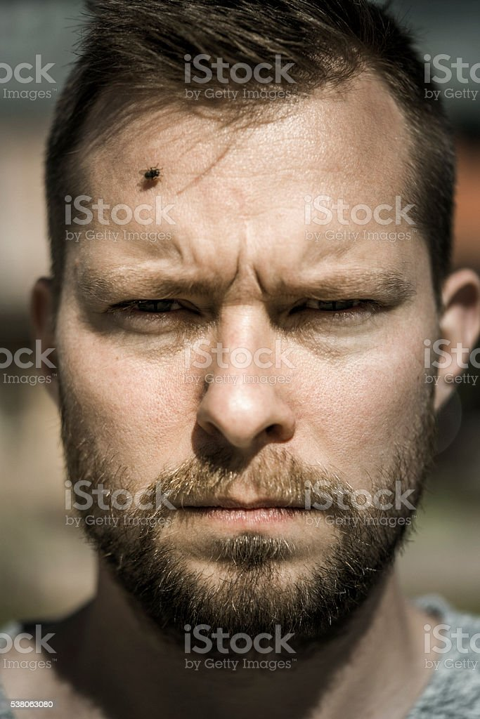 Close-up portrait of serious man on sunny day stock photo