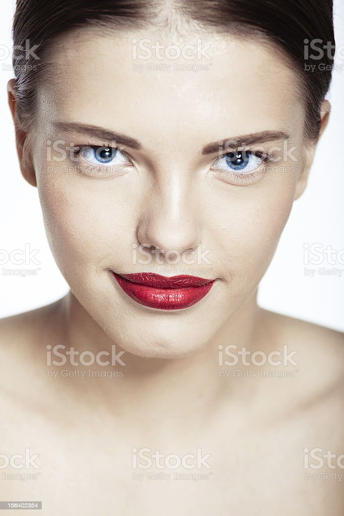Close-up portrait of sexy caucasian young model royalty-free stock photo