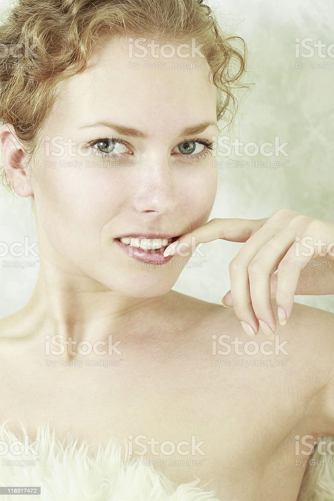 Close-up portrait of sexy caucasian young woman royalty-free stock photo