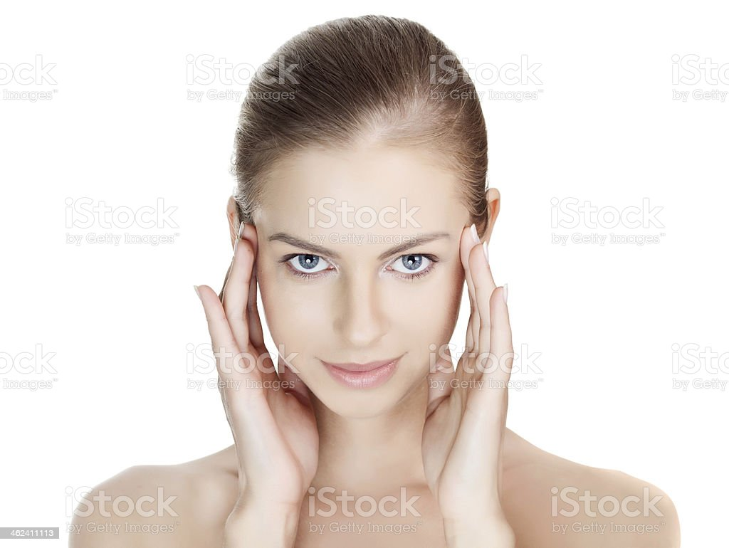 Close-up portrait of sexy caucasian young woman with beautiful b royalty-free stock photo